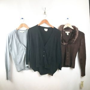Womens Cardigan Sweaters Bundle of 3 Long Sleeve